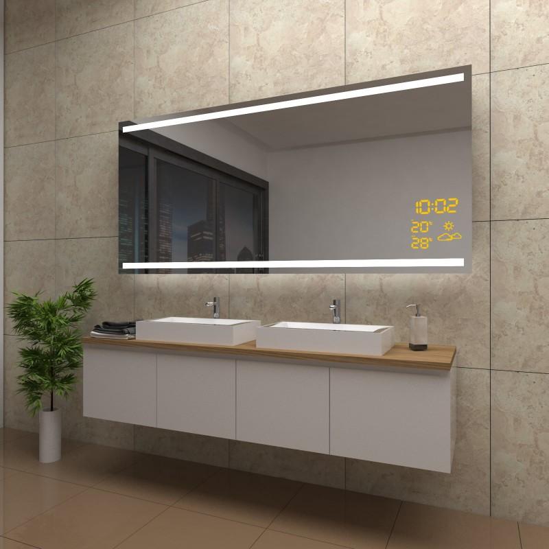 Spiegel Elena mit LED Beleuchtung und Wetterstation inkl. Uhr