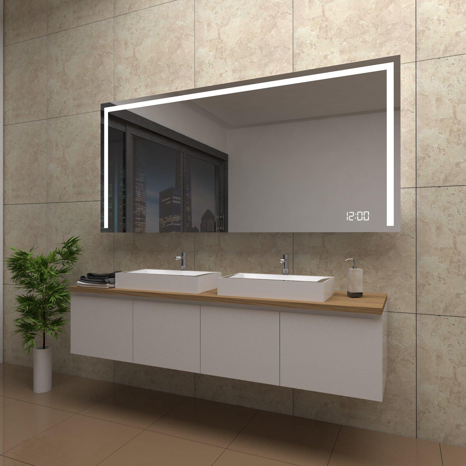spiegel bonnie mit led beleuchtung und uhr beschlagfrei temprix markenspiegel. Black Bedroom Furniture Sets. Home Design Ideas
