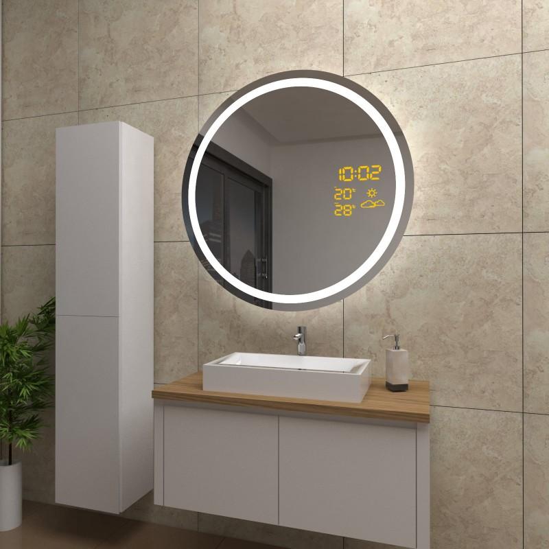 Spiegel Lacey mit LED Beleuchtung und Wetterstation inkl. Uhr, beschlagfrei