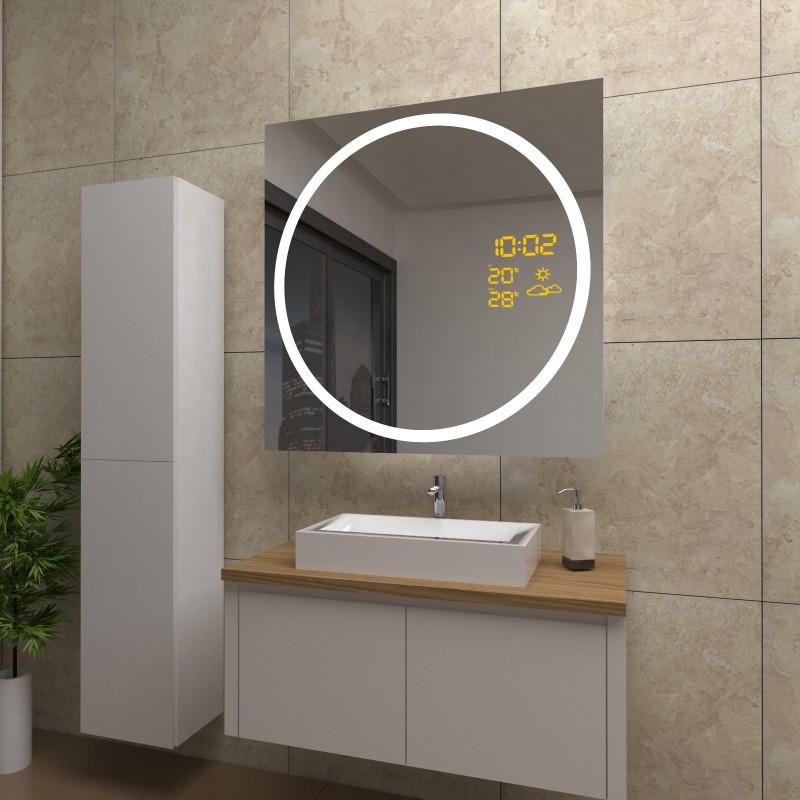 Spiegel Gloria mit LED Beleuchtung und Wetterstation inkl. Uhr, beschlagfrei