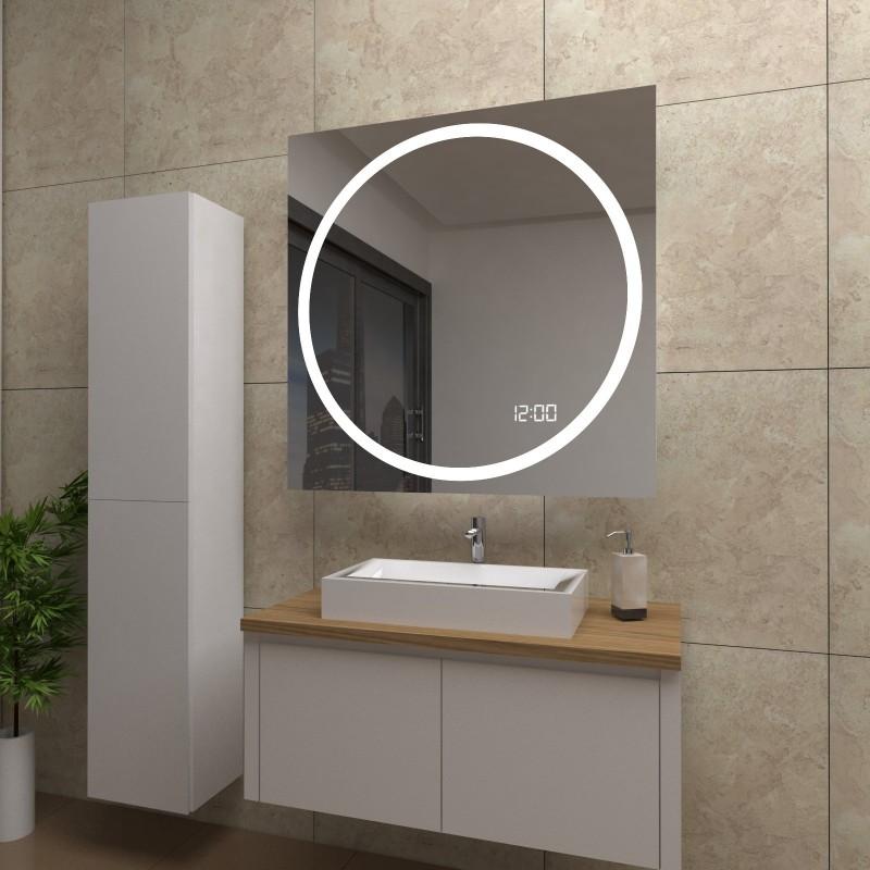 Spiegel Gloria mit LED Beleuchtung und Uhr, beschlagfrei