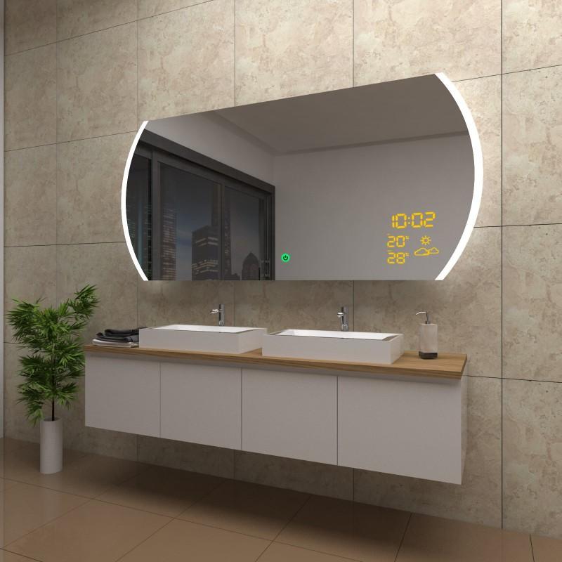 Spiegel Valerie mit LED Beleuchtung und Wetterstation inkl. Uhr, beschlagfrei