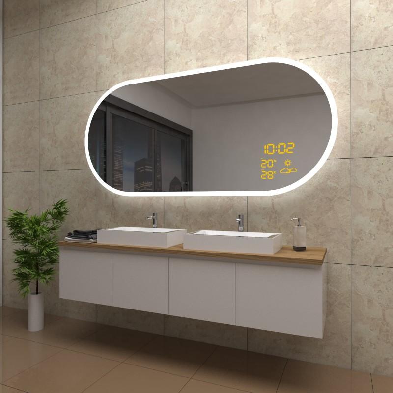 Spiegel Holly mit LED Beleuchtung und Wetterstation inkl. Uhr, beschlagfrei