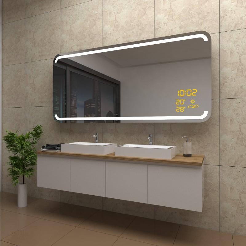 Spiegel Fiona mit LED Beleuchtung und Wetterstation inkl. Uhr, beschlagfrei