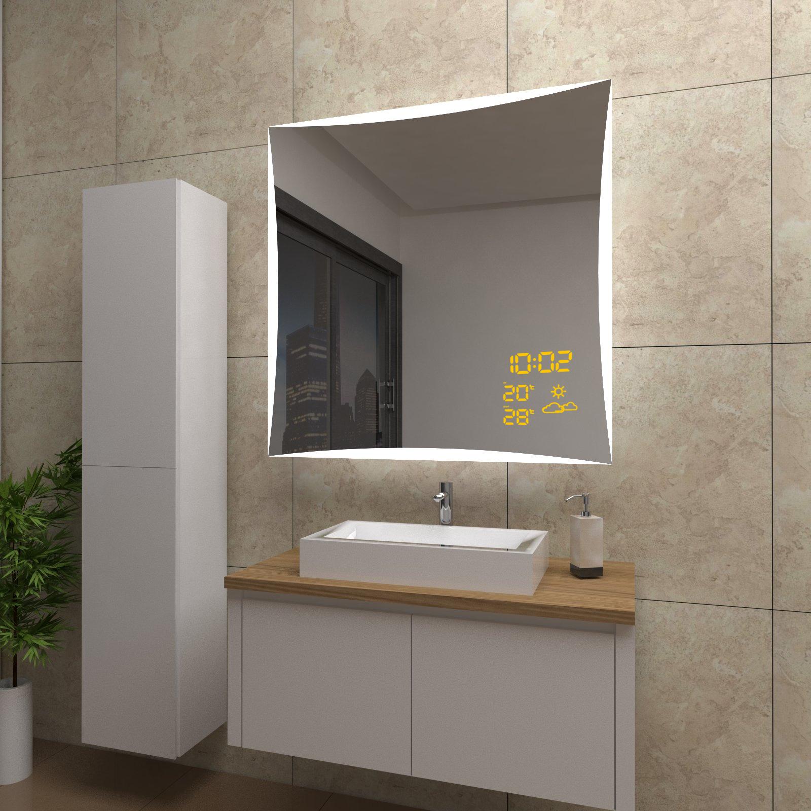 spiegel quinn mit led beleuchtung und wetterstation inkl. Black Bedroom Furniture Sets. Home Design Ideas