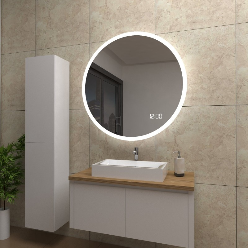 Spiegel Layla mit LED Beleuchtung und Uhr, beschlagfrei