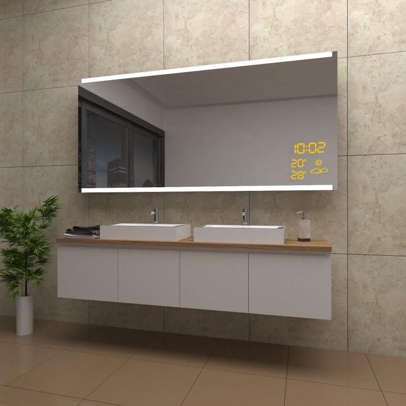 Spiegel Poppy mit LED Beleuchtung und Wetterstation inkl. Uhr, beschlagfrei