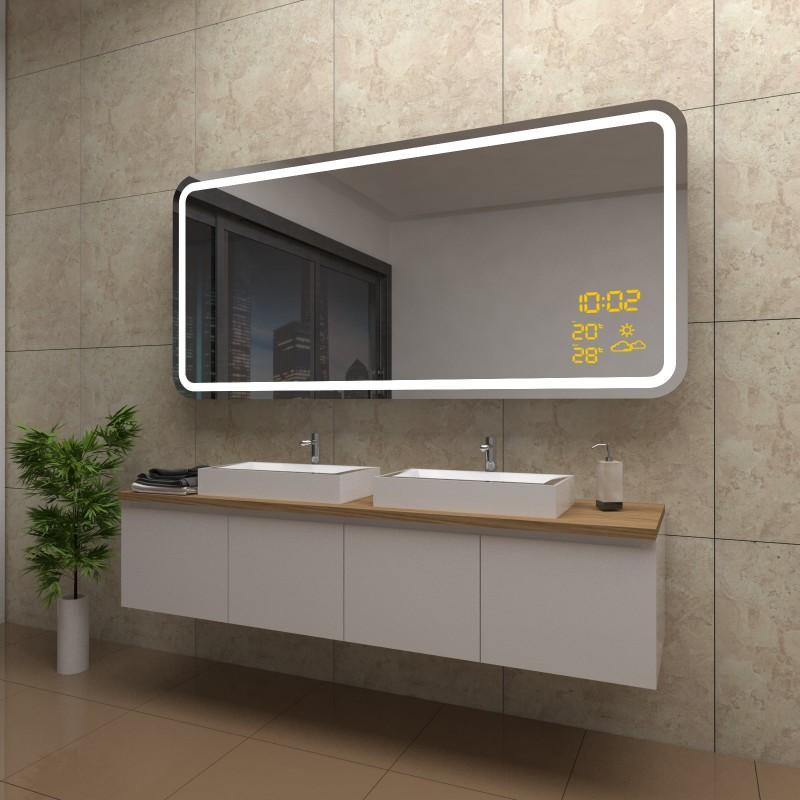 Spiegel Ellie mit LED Beleuchtung und Wetterstation inkl. Uhr, beschlagfrei