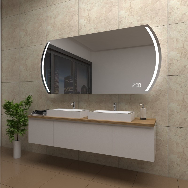 Spiegel Juliet mit LED Beleuchtung und Uhr, beschlagfrei