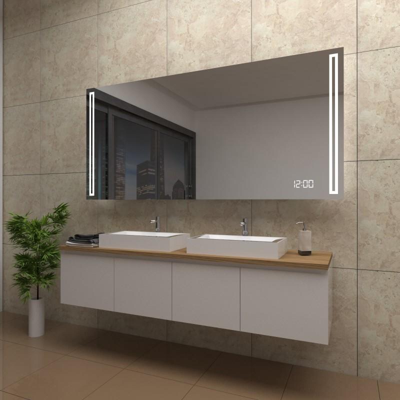 Spiegel Lexi mit LED Beleuchtung und Uhr, beschlagfrei