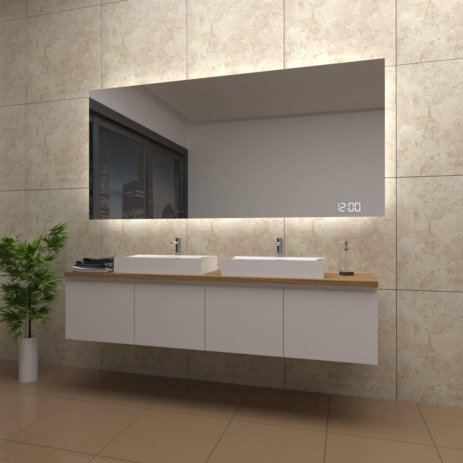 spiegel chloe mit led beleuchtung und uhr beschlagfrei temprix markenspiegel. Black Bedroom Furniture Sets. Home Design Ideas