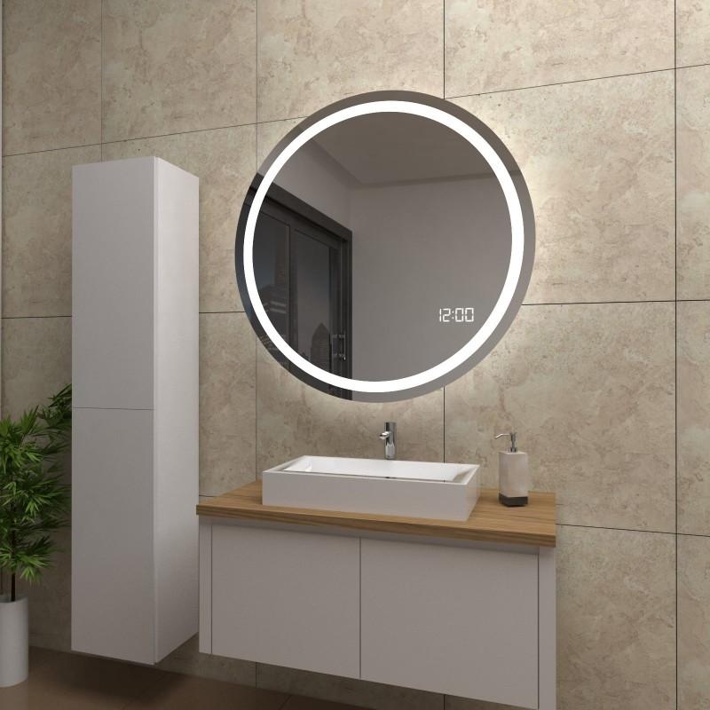 Spiegel Lacey mit LED Beleuchtung und Uhr, beschlagfrei