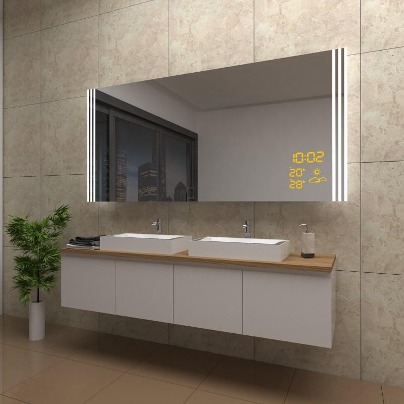 Spiegel Mia mit LED Beleuchtung und Wetterstation inkl. Uhr, beschlagfrei