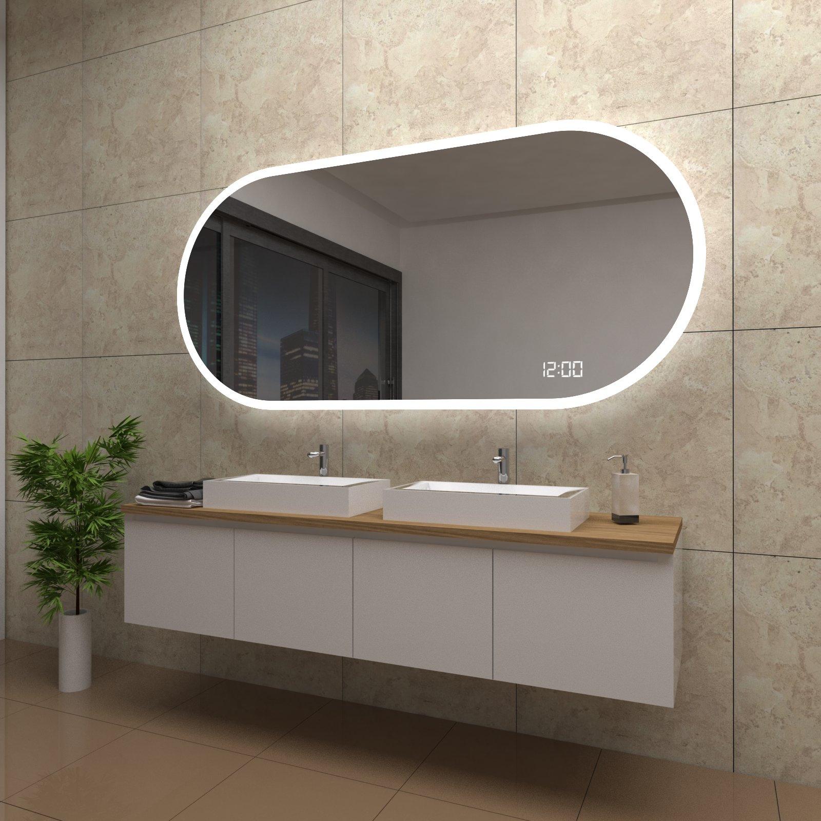 spiegel holly mit led beleuchtung und uhr beschlagfrei temprix markenspiegel. Black Bedroom Furniture Sets. Home Design Ideas