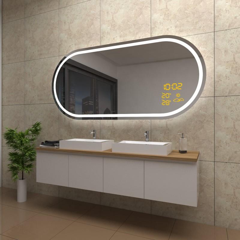 Spiegel Sophie mit LED Beleuchtung und Wetterstation inkl. Uhr, beschlagfrei