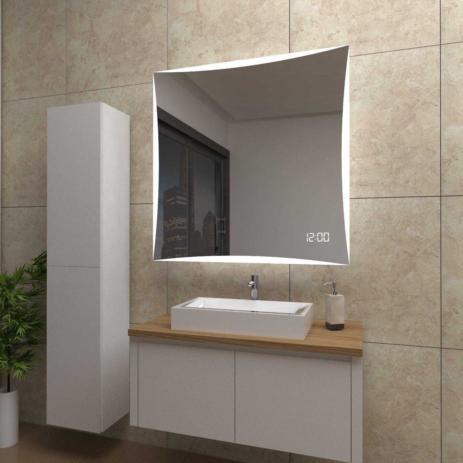 spiegel quinn mit led beleuchtung und uhr beschlagfrei temprix markenspiegel. Black Bedroom Furniture Sets. Home Design Ideas