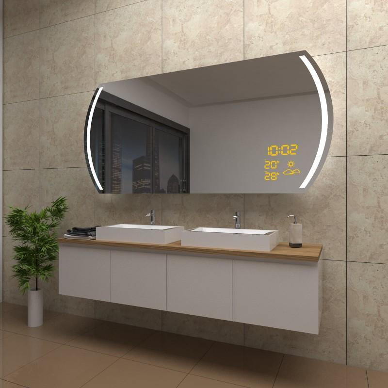 Spiegel Juliet mit LED Beleuchtung und Wetterstation inkl. Uhr, beschlagfrei