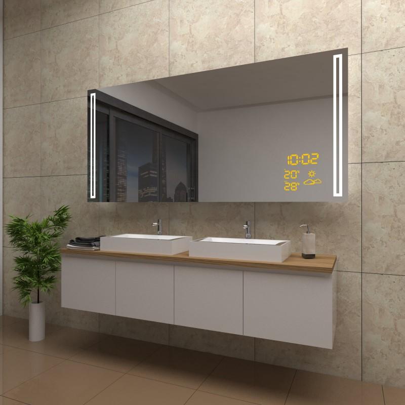Spiegel Lexi mit LED Beleuchtung und Wetterstation inkl. Uhr, beschlagfrei