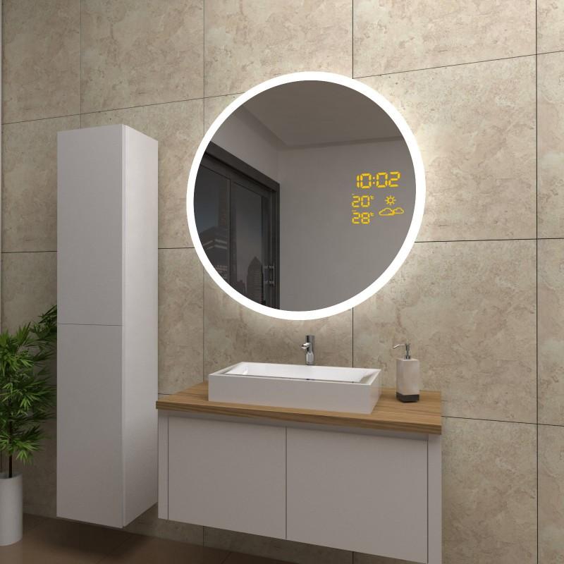 Spiegel Layla mit LED Beleuchtung und Wetterstation inkl. Uhr, beschlagfrei