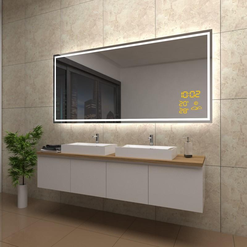 Spiegel Viktoria mit LED Beleuchtung und Wetterstation inkl. Uhr, beschlagfrei