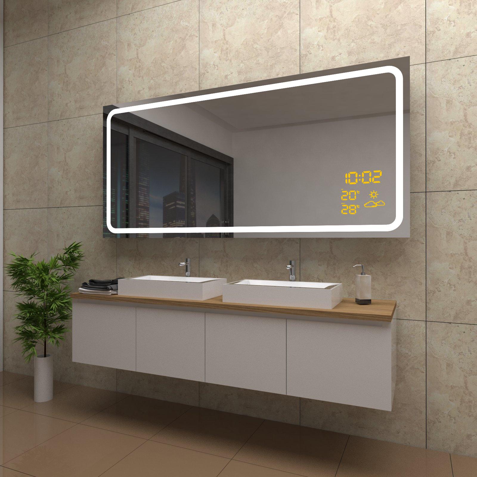 Spiegel Grace mit LED Beleuchtung und Wetterstation inkl Uhr