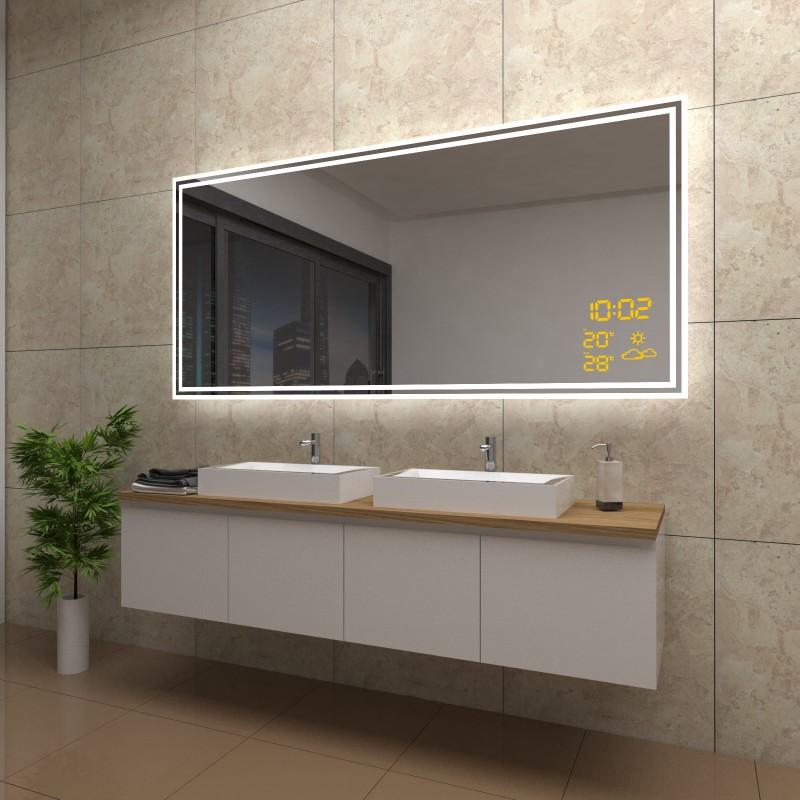 Spiegel Roxanne mit LED Beleuchtung und Wetterstation inkl. Uhr